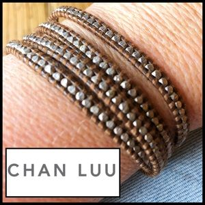 Chan Luu Sterling Silver Beads on Brown Leather.